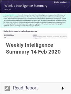 Weekly Intelligence Summary 14 Feb 2020