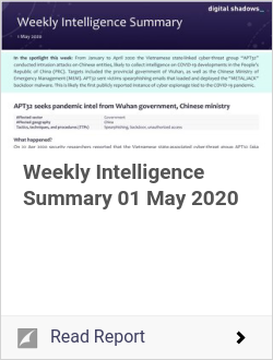 Weekly Intelligence Summary 01 May 2020