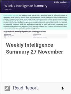 Weekly Intelligence Summary 27 November