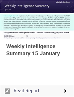 Weekly Intelligence Summary 15 January