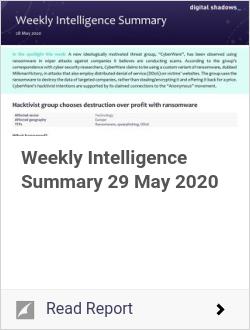Weekly Intelligence Summary 29 May 2020