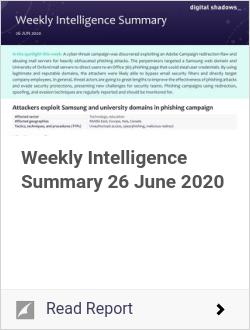 Weekly Intelligence Summary 26 June 2020