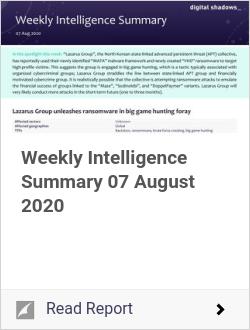 Weekly Intelligence Summary 07 August 2020