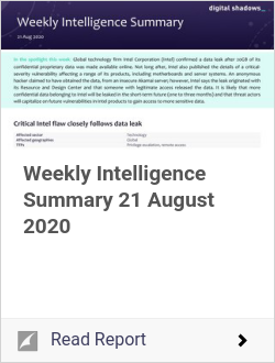 Weekly Intelligence Summary 21 August 2020