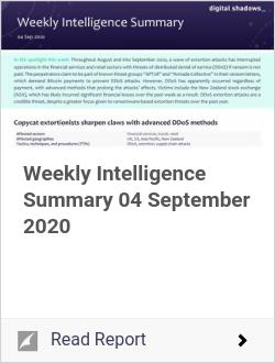 Weekly Intelligence Summary 04 September 2020