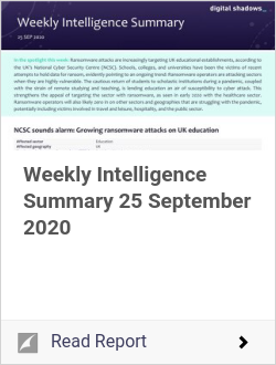 Weekly Intelligence Summary 25 September 2020