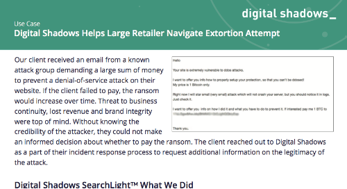 Digital Shadows Helps Large Retailer Navigate Extortion Attempt