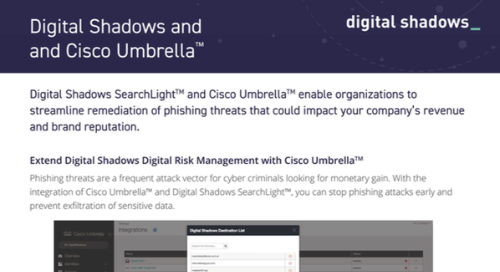 Digital Shadows Cisco Umbrella Integration Datasheet