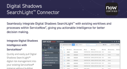 Digital Shadows ServiceNow Integration Datasheet
