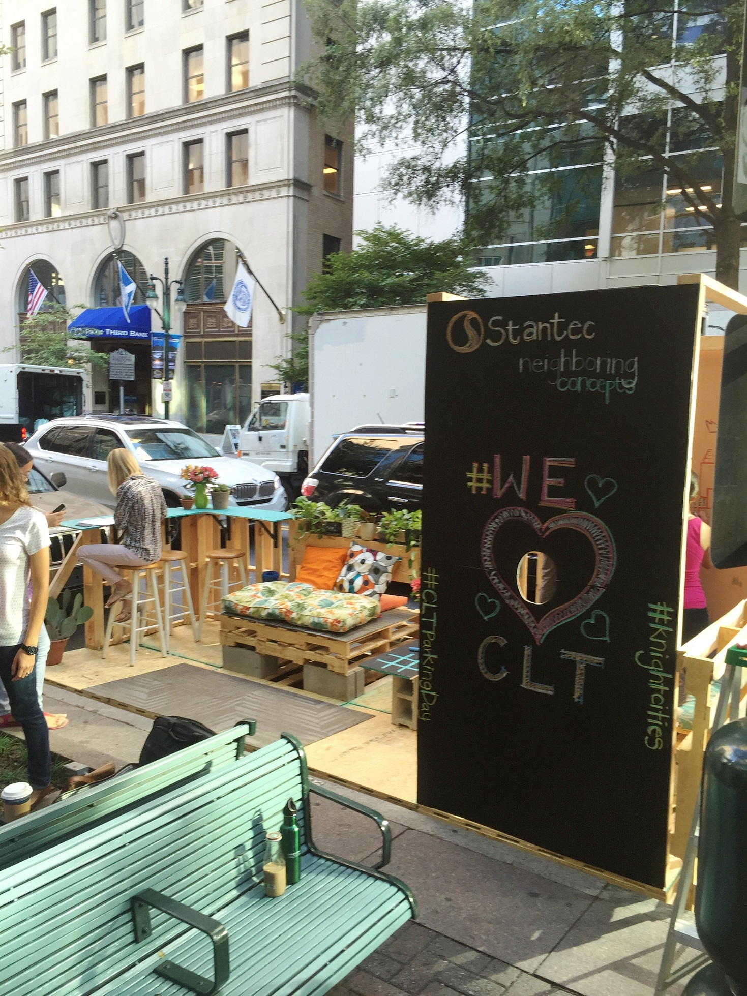 The Charlotte parklet asked people to note what they like most about their city