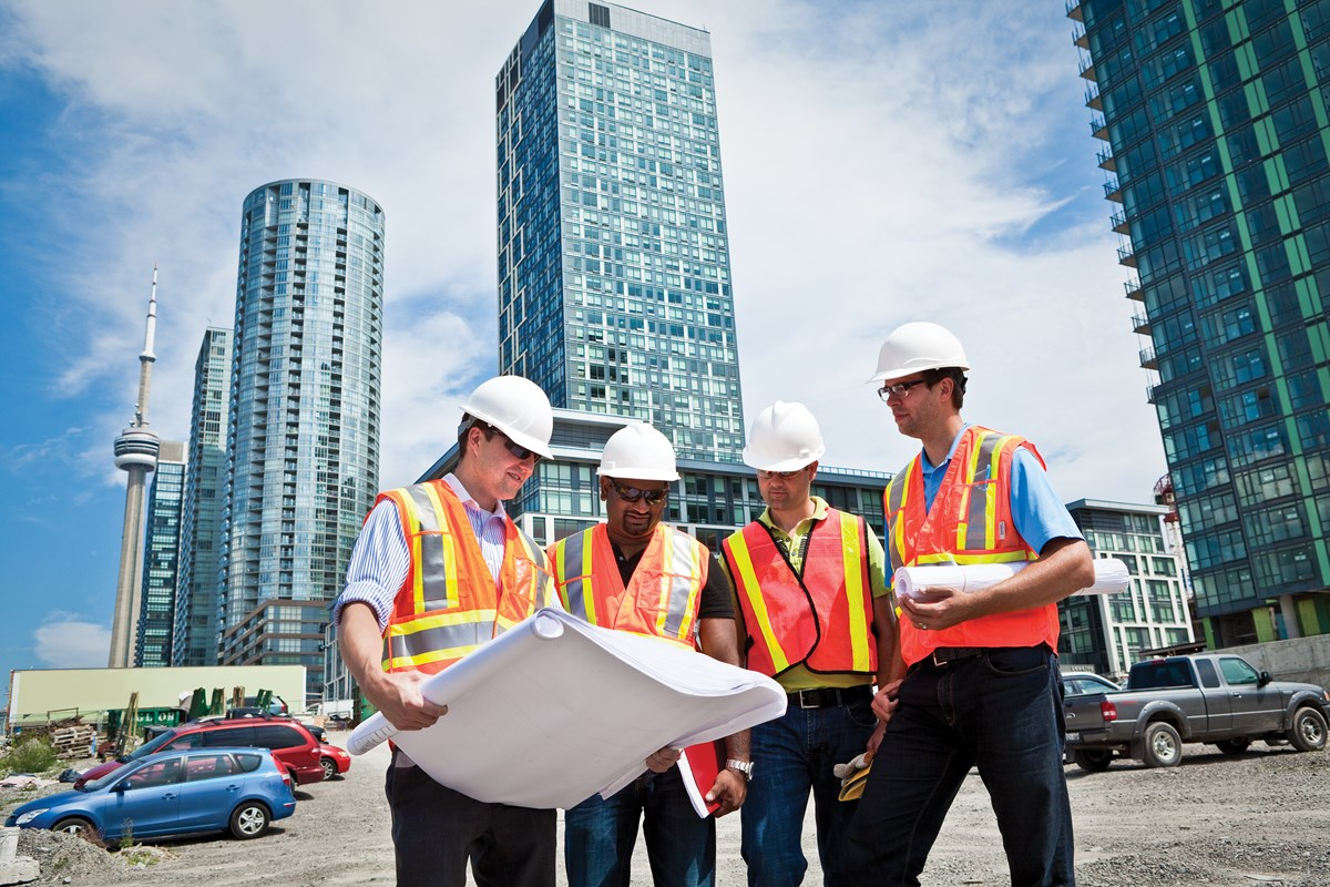 A group of people on a construction site