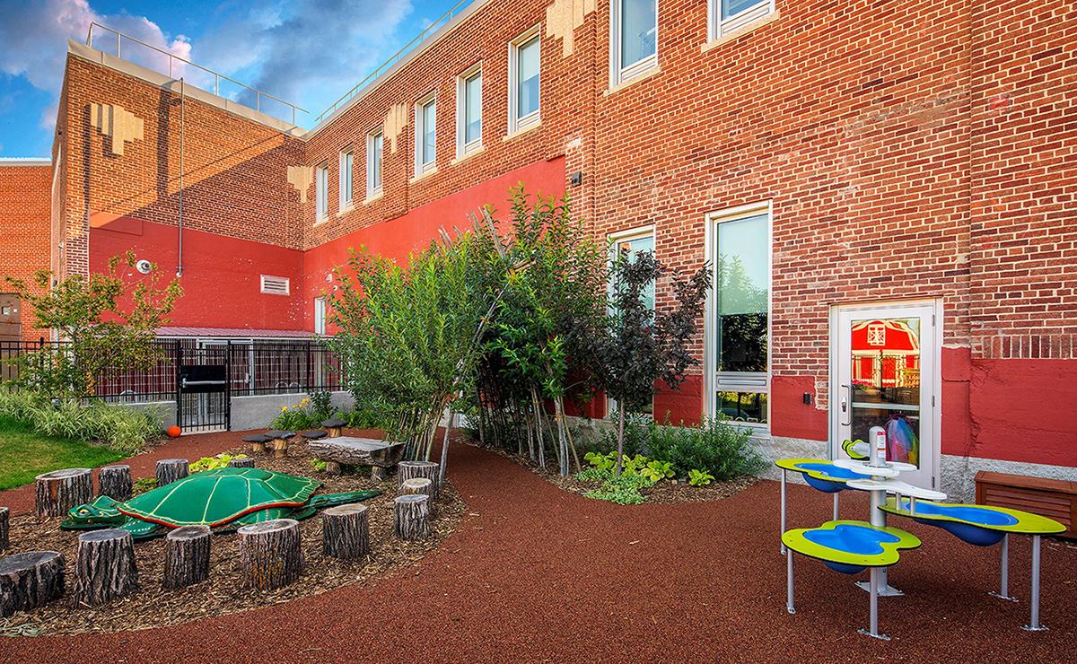 Outdoor space in Winnipeg enhanced with biophilic design elements