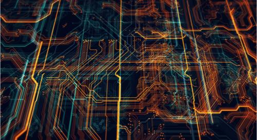 ilustración abstracta del enrutamiento de una placa de circuito en 3D