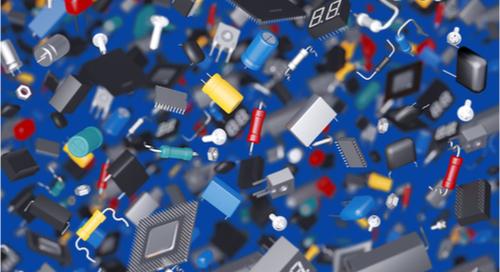 imagen en 3D de diferentes componentes de PCB