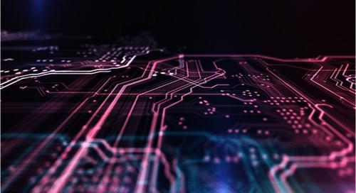 imagen en 3D de un diseño de PCB multicapa