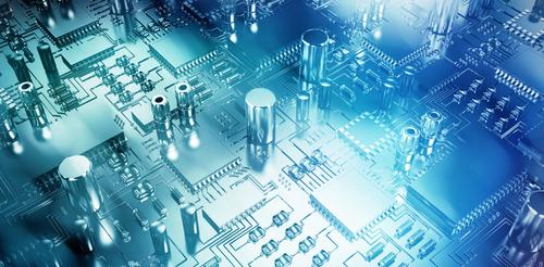 gros plan d'un circuit en 3D sur un fond bleu luminescent
