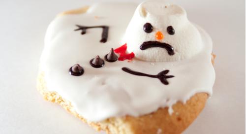 Cookie avec bonhomme de neige en marshmallow
