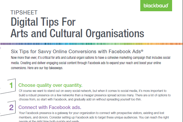 Tipsheet: 6 Tips for Facebook Advertising in Arts and Cultural Organisations