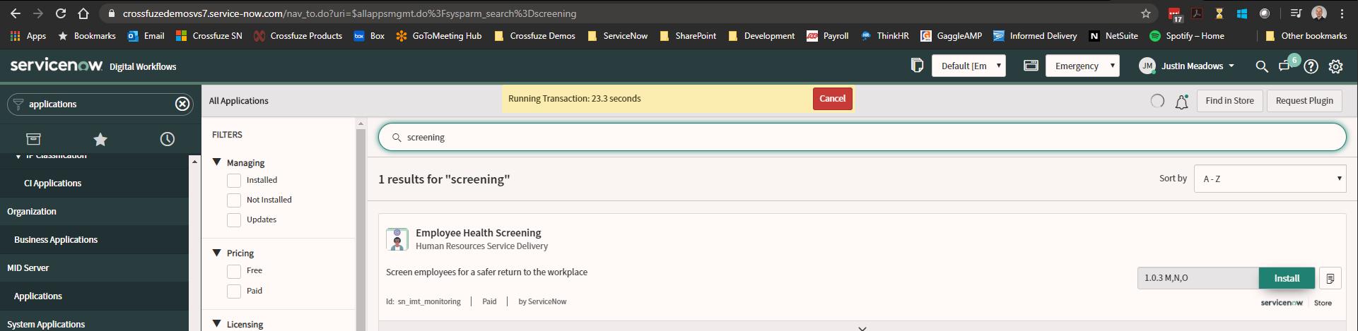 ServiceNow Safe Workplace App screenshot of Employee Health Screening portal