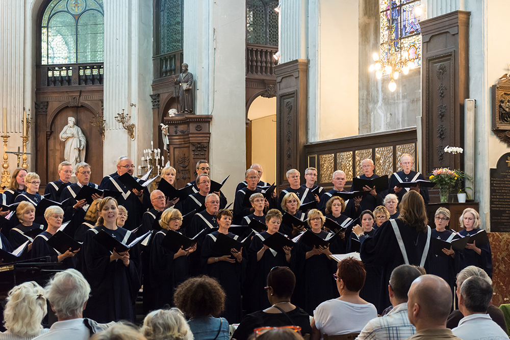 Choir performing in church setting