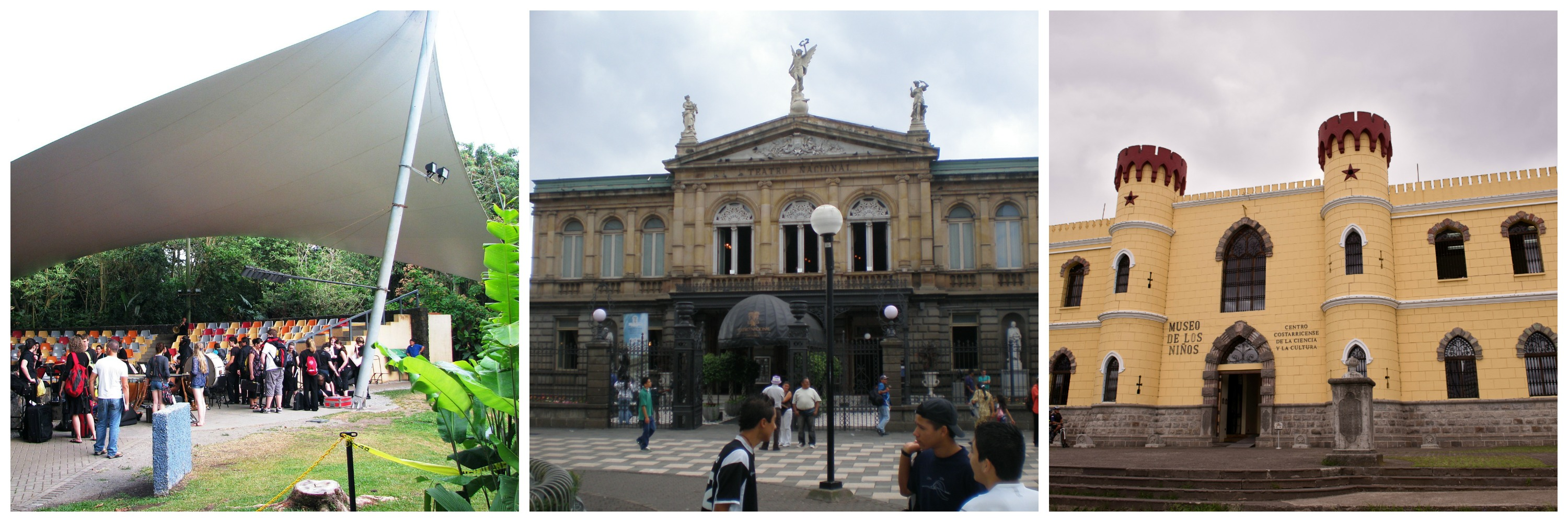 Left: Band gathering in outdoor amphitheatre, carrying their instruments in cases and milling about | Middle: The facade of the Teatro Nacional, which boasts beautiful Neoclassical architecture | Right: The facade of the Museo de los Niños, which resembles a miniature castle