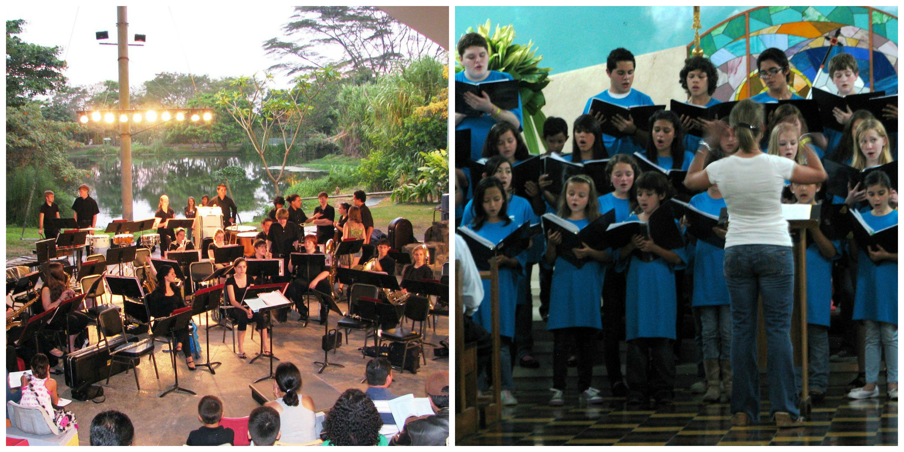 Left: Band performing in an amphitheatre with spotlights shining on them; lush Costa Rican flora and a clear body of water in the background | Right: Choir director conducting a yoth choir wearing blue T-shirts in an outdoor amphitheatre with colorful backdrop behind them
