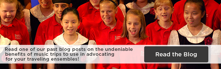 Children in a choir, wearing red and black uniforms, singing; text: Read one of our past blog posts on the undeniable benefits of music trips to use in advocating for your traveling ensembles! Read the blog