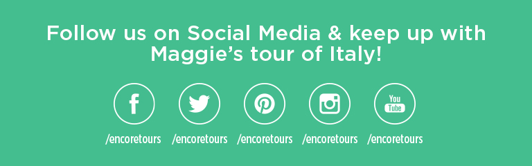 "Green background with white text reading ""Follow us on Social Media and keep up with Maggie's Tour of Italy!"" Social Media Icons - Facebook, Twitter, Pinterest, Instagram, YouTube"