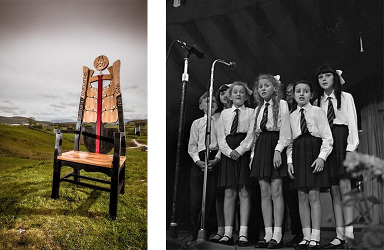 A collage of images including the 2017 Eisteddfod chair and children singing.