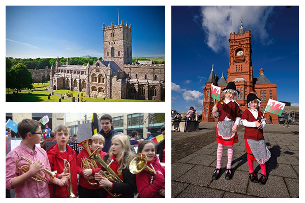 An collage of images including one of St. David's Cathedral and young children holding brass instruments.