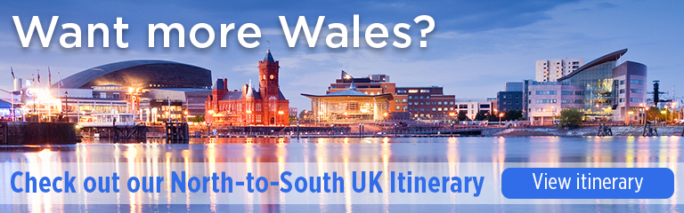 "An image showing the skyline of Cardiff, Wales with the text ""Want more Wales? Check out our North-to-South UK Itinerary"""
