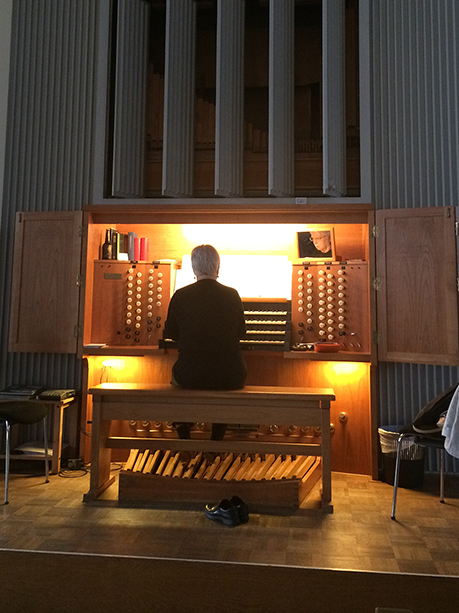 Alice playing the organ at St. Petrikirche in Hamburg