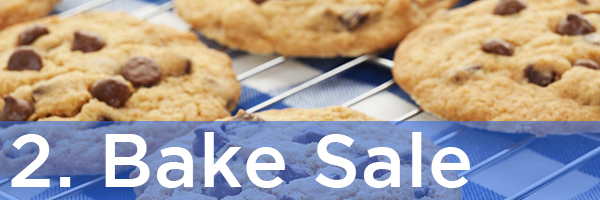 2. Bake Sale | Description: Chocolate chip cookies on a picnic table