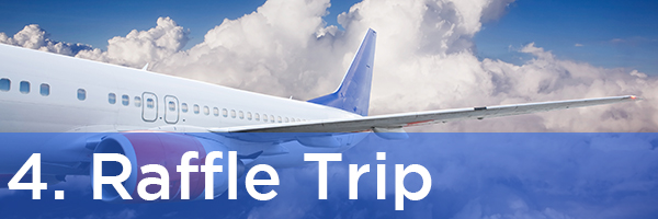 4. Raffle Trip   Description: Large airplane soaring through blue sky with fluffy white clouds
