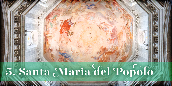 Text: '5. Santa Maria del Popolo'; background: octagonal dome with painting on ceiling featuring heavenly and religious motifs