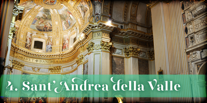 Text: '4. Sant'Andrea della Valle'; background: white and gold altar embellished with numerous paintings and marble accents, with square columns surrounding it