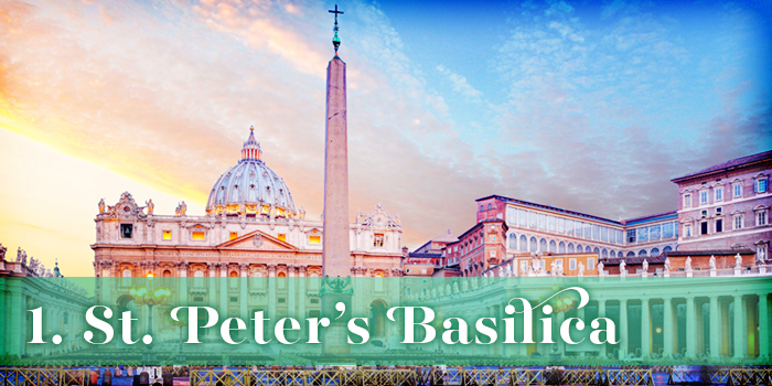Text: '1. St. Peter's Basilica'; background: view of Maderno's facade of St. Peter's Basilica, which features Corinthian columns and a large dome, from the nearest square, Piazza San Pietro, at sunset