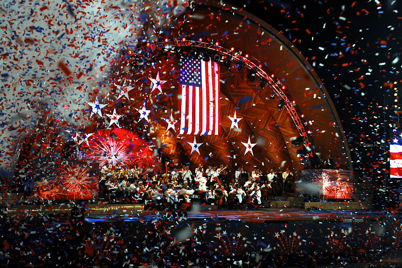 Confetti raining down at the 35th Boston Pops Orchestra and Fireworks Spectacular