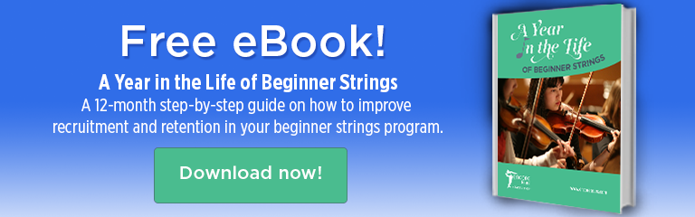 Free eBook: 'A Year in the Life of Beginner Strings'! Our eBook offers a 12-month step-by-step guide on how to improve recruitment and retention in your beginner strings program. Download free today!