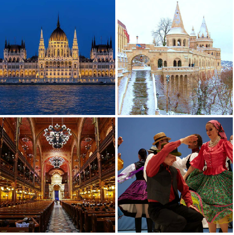[Top left: Hungarian Parliament Building] [Top right: Fisherman's Bastion] [Bottom left: Dohány Street Synagogue] [Bottom right: Performers at a Hungarian folklore show]