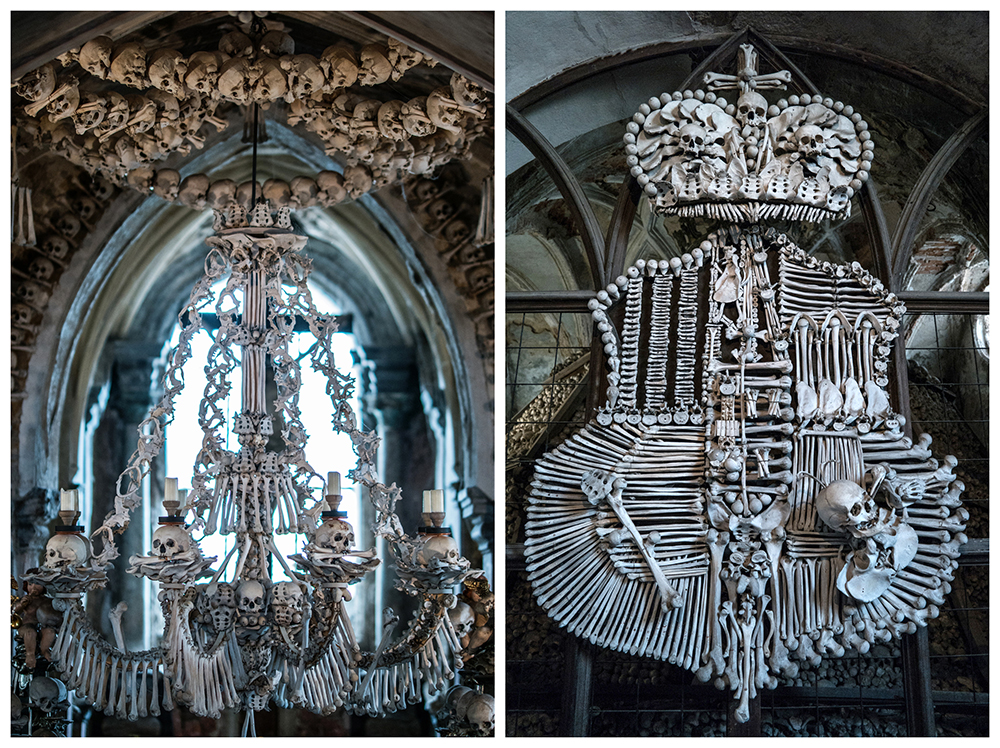 Left: Chandelier made of human bones that contain at least one of each bone from the human body | Right: Coat of arms made of bones | Photo Credit: nanpalmero/Flickr