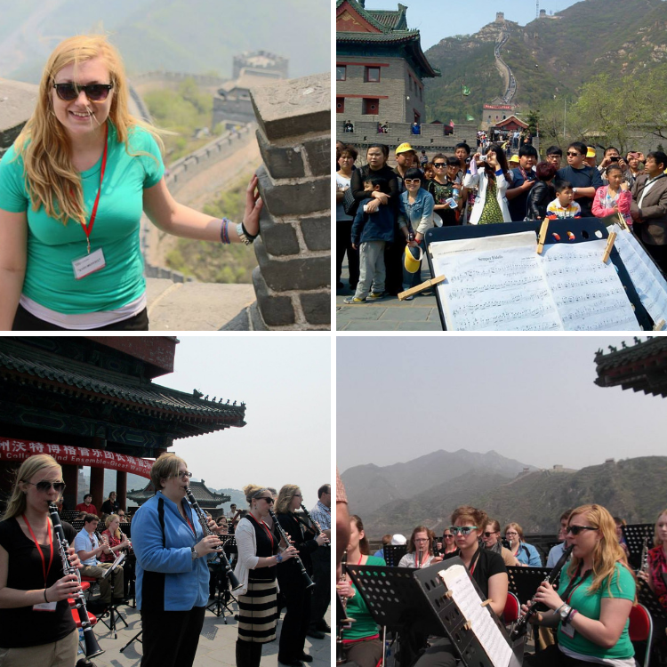 Top left: Kate smiling at the Great Wall of China | Top right: Group of sightseers congregating to watch the Wartburg Wind Ensemble perform at the Great Wall | Bottom left and right: Wartburg Wind Ensemble performing at the Great Wall in front of a building featuring traditional Chinese architecture