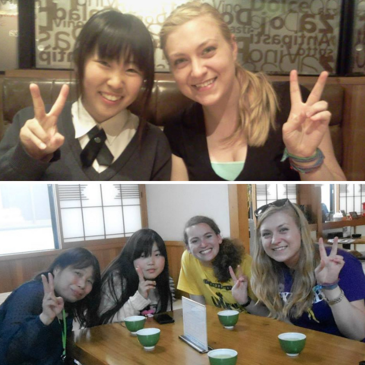 Top: Kate and fellow clarinetist from Nikko, Japan posing for a photo and holding up peace signs | Bottom: Kate's host mom and sister posing for a photo with Kate and a fellow Wartburg Wind Ensemble member, holding up peace signs with teacups on the wooden table in front of them