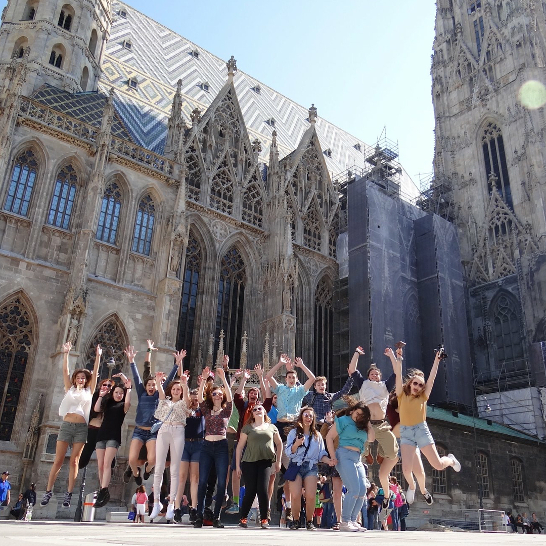 Third Place Winner | By Sydney C. | Jumping in front of St. Stephen's Cathedral in Vienna, Austria