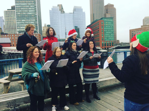 The Encore Tours team caroling in Boston