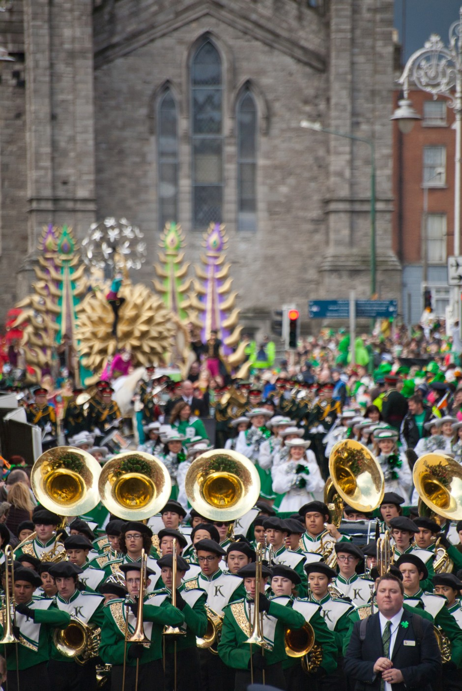 Marching band performing in St. Patrick's Day Parade