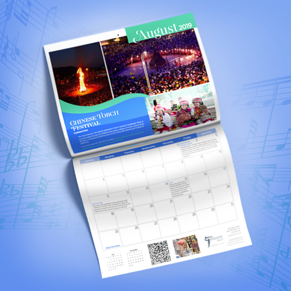 Render of the printed Musical Celebrations Calendar showing the month of August, featuring the Chinese Torch Festival and a QR code leading to our article about this celebration