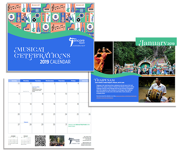 Preview of the cover & the month of January featuring Thaipusam from the Musical Celebrations Calendar