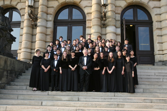 Sacramento Youth Symphony Group posing on the steps of the Rudolfinum in Prague