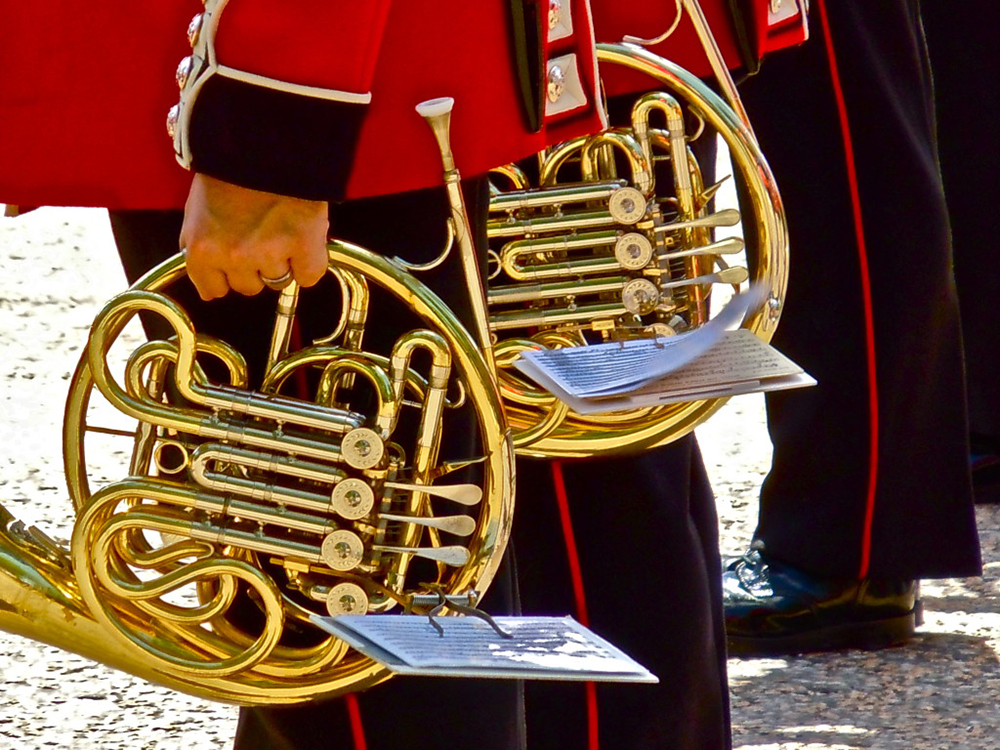 Members of the Queen's Guard holding French horns
